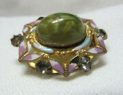 Lovely Victorian Pin Broach Pink And White Enamel Rhinestones Large Cabochon