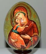 10, Hand-painted Russian Orthodox Icons The Virgin Of Vladimir, Wooden Egg