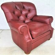 Ethan Allen Genuine Leather Tufted Wingback Writers Library Armchair Burgundy