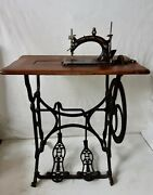 Extremely Rare 1880 Hurtu Model A Sewing Machine With Original Treadle Stand