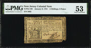 New Jersey Colonial Note Frnj-198 Jan. 9 1781 3s9d Pmg 53 11 Known