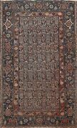 Antique Pre-1900 Antique Geometric Malayer Area Rug Paisley Hand-knotted 4x6 Ft