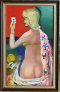 Harald Vike 1906-87 Rare Original Oil Painting Bathing Nude With Rope And Vanity