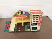 Vintage Retro 1970and039s Fisher Price Service Center Service Ramp With Cars