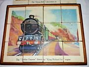 Antique Wooden Block Double Sided Jigsaw Puzzles Steam Trains Locomotives In Box