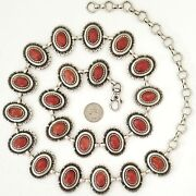 Womenand039s Navajo Style Antique Silver And Red Coral Concho Belt S/m/l- Made In Italy
