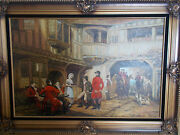 Stunning Painting Framed Antique Oil Canvas Painting Signed By Dennis 35x23