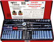 Tande Tools 73 Piece 1/4drive Sae And Metric Socket Set 6 Point 92674