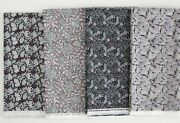 William Morris Collection Cotton Fabric Silver Print 4 Matched Pieces 40x44 Ea