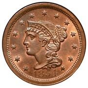 1845 N-10 R-2 Ngc Ms 66 Rb Cac Braided Hair Large Cent Coin 1c