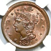 1851 N-20 R-3 Ngc Ms 66 Bn Braided Hair Large Cent Coin 1c