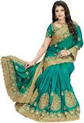 Nine Sister Green Embroidered Universal Regular Saree With Blouse-s9b