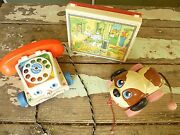 3 Classic Vintage Toys - Dog Pull Toy/fisher Price Phone And Puzzle