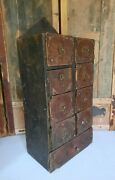 Antique 1904 Tramp Art Box Chip Carved Wood Carving Miniature Drawers Scratch