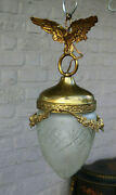 Antique French Brass Eagle Lantern Crystal Acorn Shade Lamp Chandelier