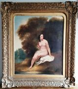 Circle Of William Etty British Nude Lady Portrait 1800and039s Large Antique Painting