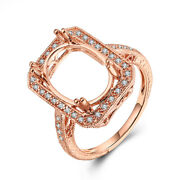 Oval 14x10mm Womenand039s Semi Mount Ring 18k Rose Gold Pave Diamonds Vintage Antique