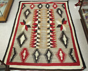 Large Antique Navajo Rug W/ Handcarded Grey And Diamond Motifs 84 X 60.5 C.1930s