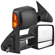 Pair Power Towing Mirrors For 07-17 Toyota Tundra Sequoia W/ Heated Turn Signal