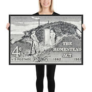 Framed Vintage Stamp Poster Art Print The Homestead Act 100th