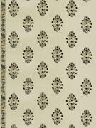 Clarence House Boteh Paisley Embroidered Linen Multipurpose Fabric 10yard Nero