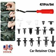 421pcs Car Retainer Clips Body Push Pin Rivet Trim Panel Fastener Mould + Tools