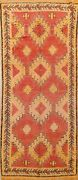 Antique Vegetable Dye Hand-knotted Authentic Moroccan Oriental Runner Rug 5x11