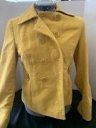 Ann Taylor Loft Double Breasted Peacoat Jacket Yellow Small Free Shipping Usa