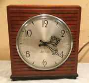 """Vintage Seth Thomas Woodbury 7"""" Wooden Electric-wind Up Footed Clock E524"""