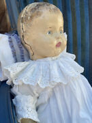Antique Composition Doll Big Baby 23 In