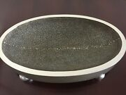 Ethan Allen Brushed Silver Pebble Bottom Footed Oval Bowl...nwot