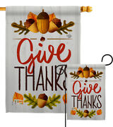 Give Thanks Garden Flag Fall Thanksgiving Decorative Gift Yard House Banner