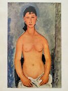 Amadeo Modigliani Rare Vintage 1950 French Lithograph Print Elvire Nackt 1919