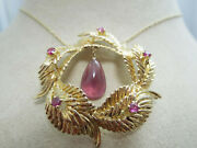 B919 Beautiful 18k Yellow Gold Leaf Wreath W/ Rubies And Attached Necklace