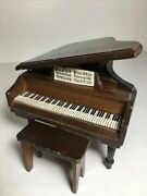 Vintage Wooden Miniature Grand Piano And Bench Walnut Furniture Doll House