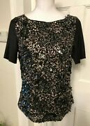 St. John Couture Gray Wool Blend Sequin Front Short Sleeve Top Size 4