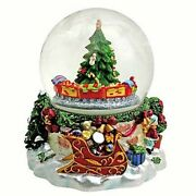 Musical Christmas Sphere Glass Cm.10 And Train That Spins Melody Jingle Bells