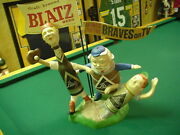 Milwaukee Braves Vintage Blatz Beer Baseball Advertising Cast Aluminum Display