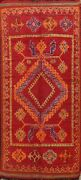 Antique Authentic Moroccan Vegetable Dye Runner Rug Hand-knotted Plush Wool 6x13