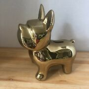 Shiny Gold French Terrier Coin Bank Three Hands Corp Shelf Decoration Desk Dog