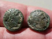 Philip Ii King Of Macedonia 359-336 Bc. Lot Of Two Ancient Greek Bronze Coin