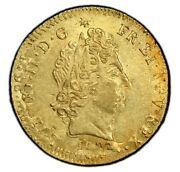 France Louis Xiv Gold Louis Dand039or 1702-s Pcgs Ms61 Golden Toning Overstruck