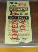 1945 Yankees Red Sox Ticket Russ Derry 1st Ever Opening Day Grand Slam + 2nd Hr