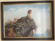 Tapestry Girl On The Rock Size 51 Cm Andtimes 72 Cm