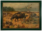 After Axel Borg Oil Painting - Landscape With Moose - Sweden