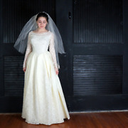 Vintage 1960s Traditional Wedding Gown / Dress Ivory Corded Lace Bustle And Bow