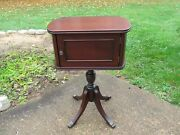 Antique Cigar Humidor Smoke Stand Solid Mahogany Wood End Table Restored
