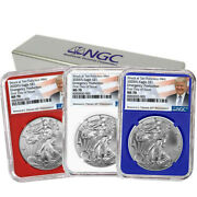 2020 S Ngc Ms 70 Silver Eagle Fdoi Emergency Production Trump Label Set Of 3