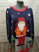 Jolly Sweaters Christmas Ugly Embroidered Ornament Santa In Orange Vest Size