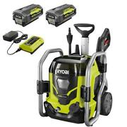 Ryobi Cordless Electric Pressure Washer 2-batteries Charger Cold Water Wheels